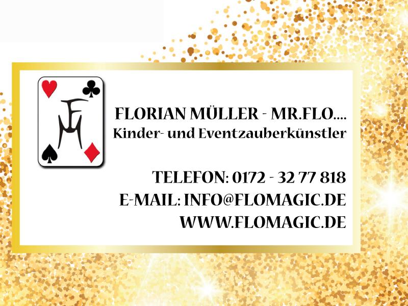 Erleben Sie den Zauber von Mr. Flo  Seit über 10 Jahren ist der hauptberufliche Zauberkünstler Mr. Flo der richtige Künstler für Ihre Veranstaltungen und Events in Würzburg, Bayern und ganz Deutschland.  Erleben Sie hautnah und direkt die erfrischende, professionelle und verblüffende Magie von Mr. Flo an Ihrem Firmen-Event, im Rahmen einer Messe, einer Veranstaltung, einem geselligen Abend, einer Festivität oder auch an einem Kindergeburtstag. Fingerfertig, mit perfekter Comedy, oder eingebunden in eine wundersame Geschichte, entführt der Magier in eine Welt voller Illusion, Freude und Spaß an Tricks, Hypnose und Manipulation. Erleben Sie live, wie Dinge verschwinden, zu schweben beginnen, wieder auftauchen oder sich verbinden.
